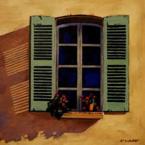 "SOLD ""Provencal Shutters,"" by Ray Ward 8 x 8 – oil $615 Framed"