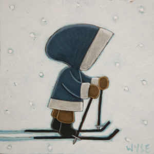"SOLD ""Push,"" by Peter Wyse 6 x 6 – acrylic $385 (unframed panel  with 1 1/2"" edging)"