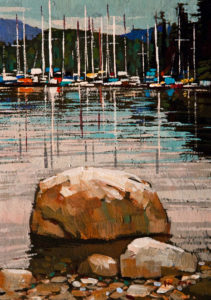 "SOLD ""Quiet Bay,"" by Min Ma 5 x 7 - acrylic $390 Unframed $535 in show frame"