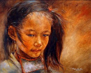 "SOLD ""Quiet Girl,"" by Donna Zhang 16 x 20 – oil"