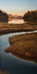 "SOLD ""Quiet Refuge,"" by Ray Ward 18 x 36 – oil $2480 Unframed"