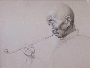 "SOLD ""A Quiet Smoke,"" by Dongmin Lai 14 x 18 –  pencil sketch $995 Framed"