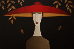 "SOLD ""Rachel in Red,"" by Danny McBride 24 x 36 – acrylic $3400 Unframed"
