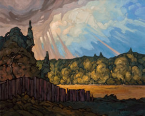"SOLD ""Rain Pillars,"" by Phil Buytendorp 16 x 20 – oil $1330 Unframed"