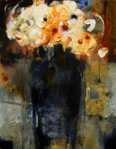 "SOLD ""Rainy Day Flowers,"" by Susan Flaig 11 x 14 – acrylic with graphite $470 Unframed"