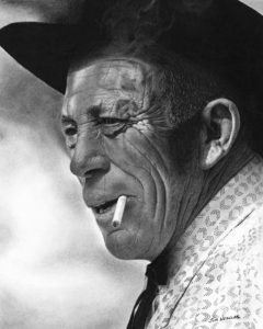"""SOLD """"The Rancher,"""" by Jim Nedelak 11 x 13 ¾ - charcoal drawing $2400 custom framed"""
