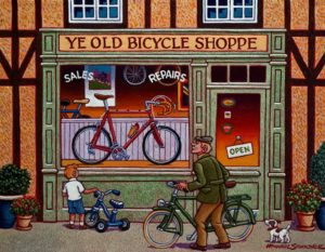 "SOLD ""The Red Bicycle,"" by Michael Stockdale 14 x 18 – acrylic $730 Unframed"