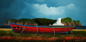"SOLD ""The Red Boat,"" by Mark Fletcher 15 x 30 – acrylic $1925 Unframed"