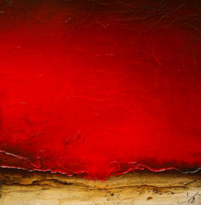 "SOLD ""Red Discovery,"" by Laura Harris 24 x 24 – acrylic $1670 (thick canvas wrap without frame)"