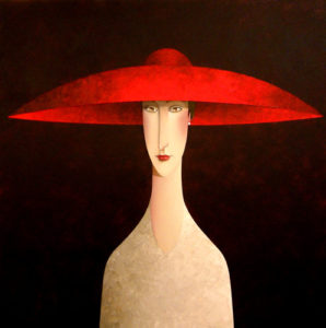 "SOLD ""Red Hat,"" by Danny McBride 36 x 36 – acrylic $4300 (thick canvas wrap without frame)"