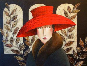 "SOLD ""Red Hat & Leaves,"" by Danny McBride 36 x 48 – acrylic $4150 Unframed"