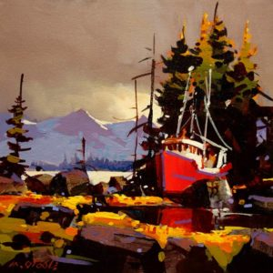 "SOLD ""Red Hull, Hidden Cove,"" by Michael O'Toole 12 x 12 – acrylic $650 (thick canvas wrap without frame)"