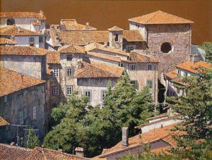 "SOLD ""Red Roofs, Barga,"" by Alan Wylie 20 x 26 – oil $5200 Framed"