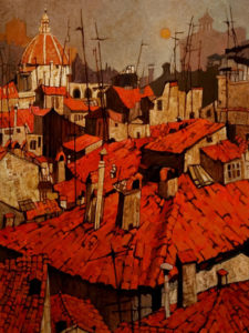 "SOLD ""Red Roofs, Florence,"" by Alan Wylie 24 x 32 – oil $7900 Framed"