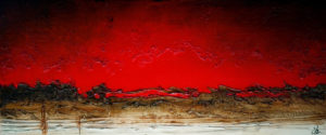 "SOLD ""Red Sky Rising,"" by Laura Harris 30 x 72 – acrylic $6170 (thick canvas wrap without frame)"