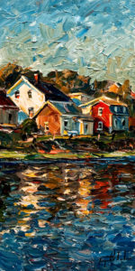 "SOLD ""Reflection (Isle-aux-Grues),"" by Raynald Leclerc 12 x 24 – oil $1750 Unframed"