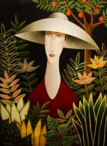 "SOLD ""Rendevouz with Rousseau,"" by Danny McBride 36 x 48 – acrylic $5200 (thick canvas wrap without frame)"