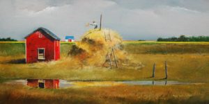 "SOLD ""Restacking After the Rains,"" by Mark Fletcher 12 x 24 – acrylic $1750 Framed"