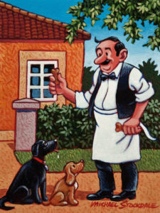 "SOLD ""The Restaurant's Pets,"" by Michael Stockdale 6 x 8 – acrylic $290 Unframed $370 Custom framed"