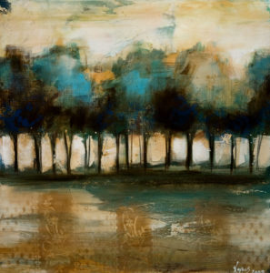 """SOLD """"Restful Spaces,"""" by Heather Haynes 30 x 30 – acrylic $1845 Unframed"""