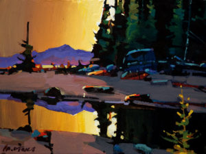 "SOLD ""Rivers Inlet Dusk,"" by Michael O'Toole 9 x 12 – acrylic $600 Unframed $810 Custom framed"