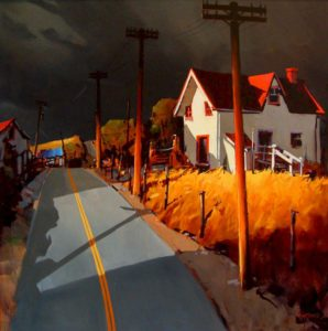 "SOLD ""Road to Charlevoix,"" by Michael O'Toole 40 x 40 – acrylic $3950 Framed"