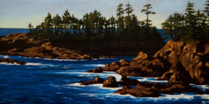 "SOLD ""Rocks and Surf, Ucluelet,"" by Ray Ward 8 x 16 – oil $835 Framed"