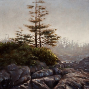 "SOLD ""Rocky Perch,"" by Ray Ward 10 x 10 – oil $700 Unframed"