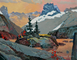 "SOLD ""Rocky Ridge at Tamarack, Bugaboo,"" by Robert Genn 14 x 18 – acrylic $4100 Unframed"
