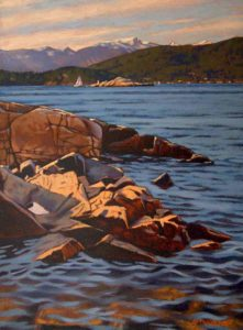 "SOLD ""Rocky Shore,"" by Ray Ward 12 x 16 – oil $955 Framed"
