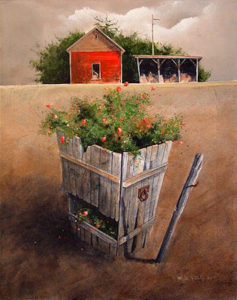 "SOLD ""Rose Bush in the Calf Feeder,"" by Mark Fletcher 16 x 20 – acrylic $1660 Framed"