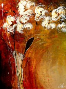 "SOLD ""Ruby and Gold,"" by Laura Harris 30 x 40 – acrylic $3430 (thick canvas wrap without frame)"