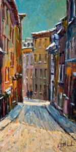 "SOLD ""Rue Garneau en Hiver,"" by Raynald Leclerc (Garneau Street in Winter) 12 x 24 – oil $1750 Unframed"
