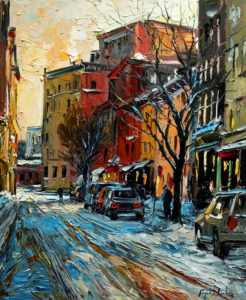 "SOLD ""Rue Saint Paul, Quebec,"" by Raynald Leclerc 20 x 24 – oil $1900 Unframed"