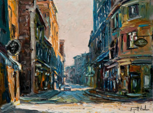 "SOLD ""Rue Saint-Paul, Montréal,"" by Raynald Leclerc 18 x 24 – oil $1900 Unframed"