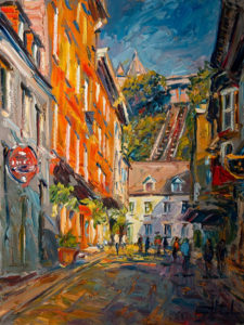 "SOLD ""Rue Sous-le-Fort, Vieux, Quebec,"" by Raynald Leclerc 18 x 24 – oil $2100 Unframed"