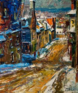"SOLD ""Rue Sainte-Angèle, Vieux, Quebec,"" by Raynald Leclerc 20 x 24 – oil $2200 Unframed"