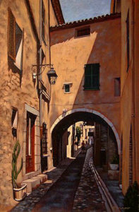 "SOLD ""Rue Grande, St. Paul de Vence,"" by Ray Ward 16 x 24 – oil $1470 Framed"