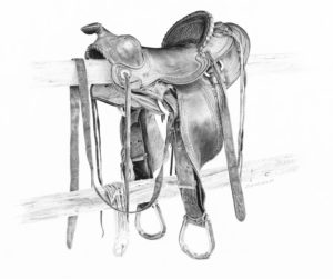 """SOLD """"Saddle - Bell Ranch,"""" by Jim Nedelak 9 1/2 x 12 - charcoal drawing $1800 Framed"""