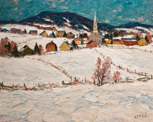 "SOLD ""Saint Tite des Caps (Sous la Neige),"" by Raynald Leclerc (Saint Tite des Caps Under Snow) 24 x 30 – oil $2750 Unframed"