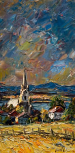 "SOLD ""Saint Vallier,"" by Raynald Leclerc 12 x 24 – oil $1750 Unframed"