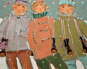 "SOLD ""Samedi, Sur La Patinoire,"" by Claudette Castonguay 16 x 20 – acrylic $780 Unframed"