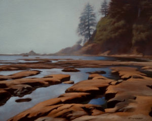 "SOLD ""Sandstone Beach, West Coast Trail,"" by Ray Ward 8 x 10 – oil $560 Unframed"