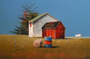 "SOLD ""Sandy Cove, Newfoundland,"" by Mark Fletcher 20 x 30 – acrylic $2360 Framed"