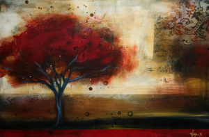 """SOLD """"Sanguine Shadows,"""" by Heather Haynes 24 x 36 – acrylic $1780 (thick canvas wrap without frame)"""