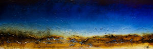"SOLD ""Sapphire Daydream,"" by Laura Harris 24 x 72 – acrylic $4960 (thick canvas wrap without frame)"