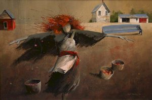 "SOLD ""Scarecrow with Red Sash,"" by Mark Fletcher 24 x 36 – acrylic $2600 Framed"