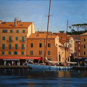 "SOLD ""Ketch, St. Tropez,"" by Ray Ward 24 x 24 – oil $1800 Framed"