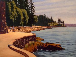 "SOLD ""Seawall Stroll,"" by Ray Ward 9 x 12 – oil $745 Framed"