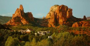 "SOLD ""Sedona Splendour,"" by Alan Wylie 16 x 30 – acrylic $5400 Framed"